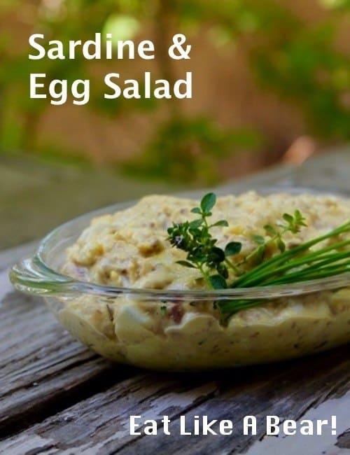 Sardine egg salad in a bowl
