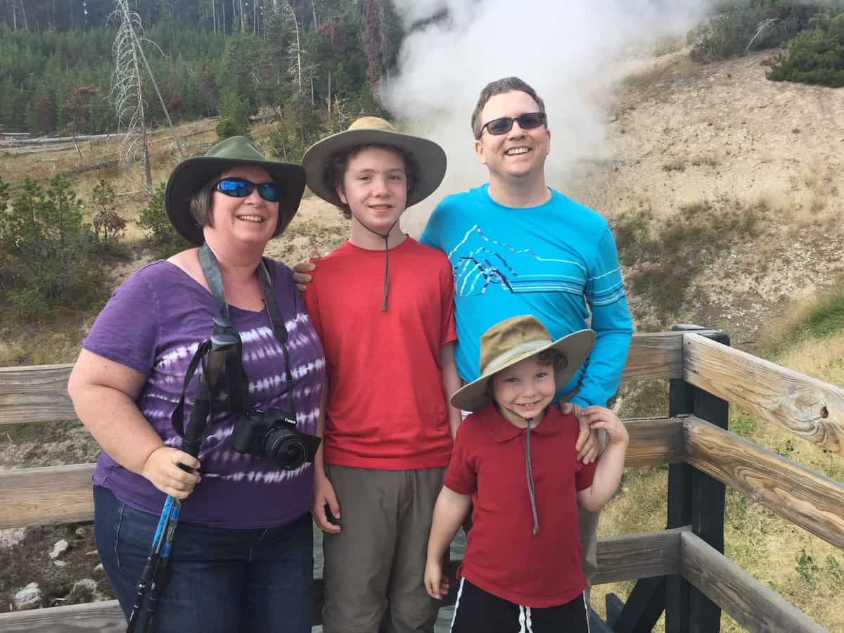 "Yellowstone ""Before"" photo of Amanda Rose, her husband, and two sons in August of 2017"