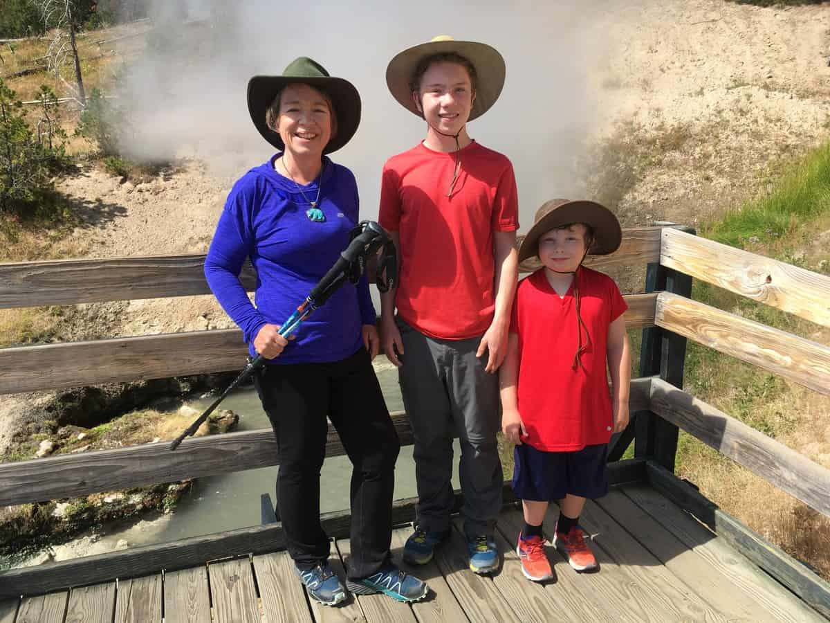 "Yellowstone ""Before"" photo of Amanda Rose and two sons in August of 2018"