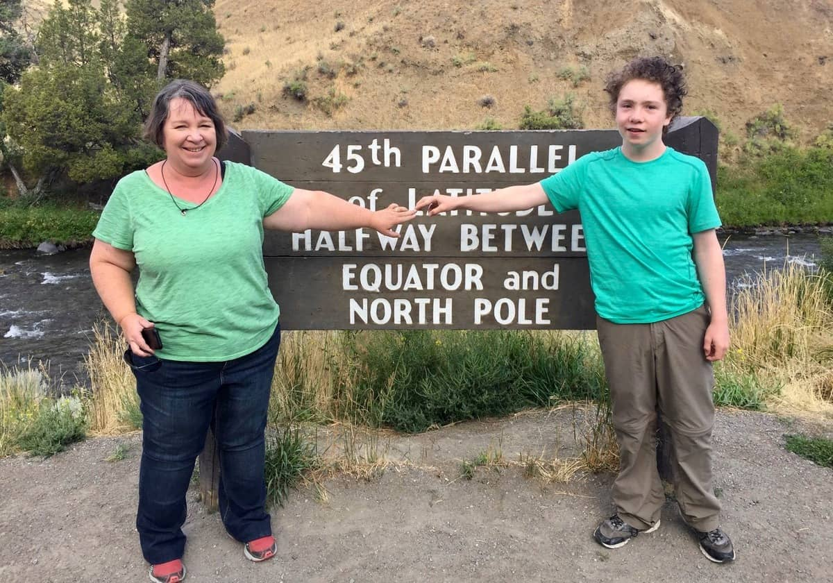 "Yellowstone ""before"" photo of Amanda Rose and her son in August of 2017"