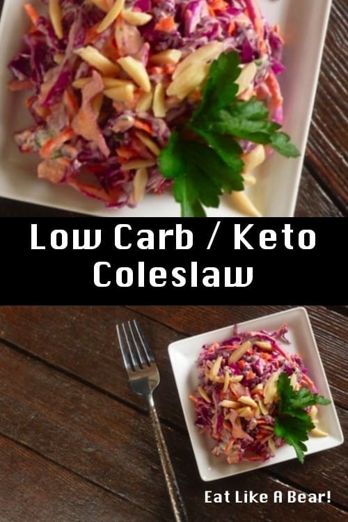 Keto coleslaw with purple cabbage on plate