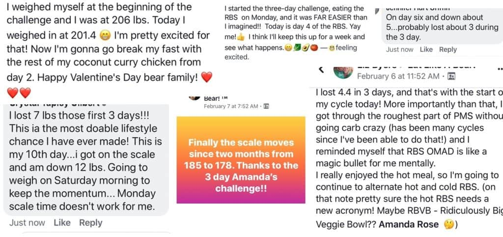 Testimonial screenshots for the Three-Day Challenge