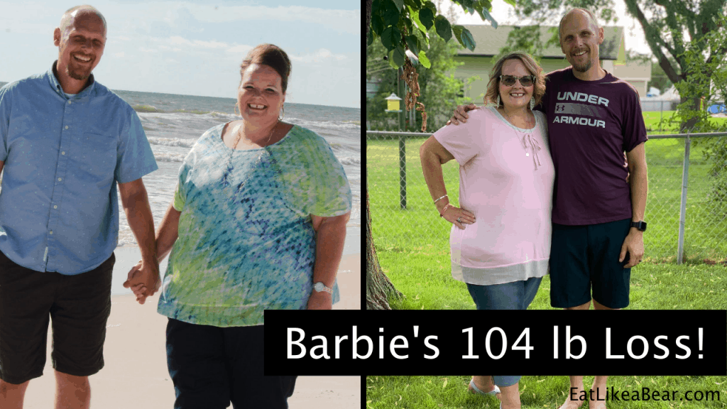 Barbie, pictured in her before and after photos, displaying her weight loss success story