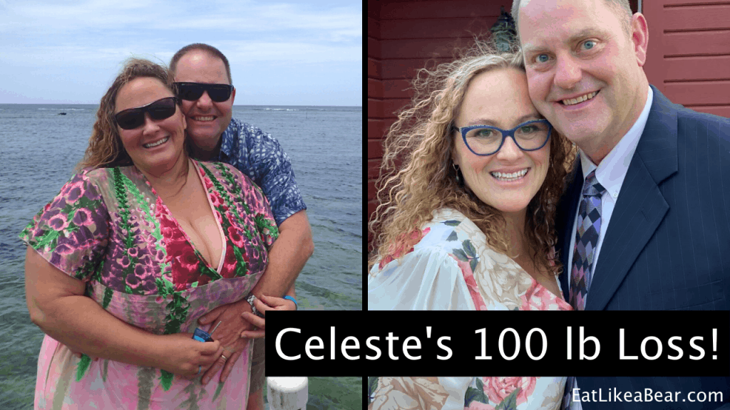Celeste, pictured in her before and after photos, displaying her weight loss success story