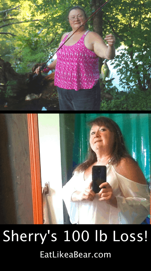Sherry, pictured in her before and after photos, displaying her weight loss success story