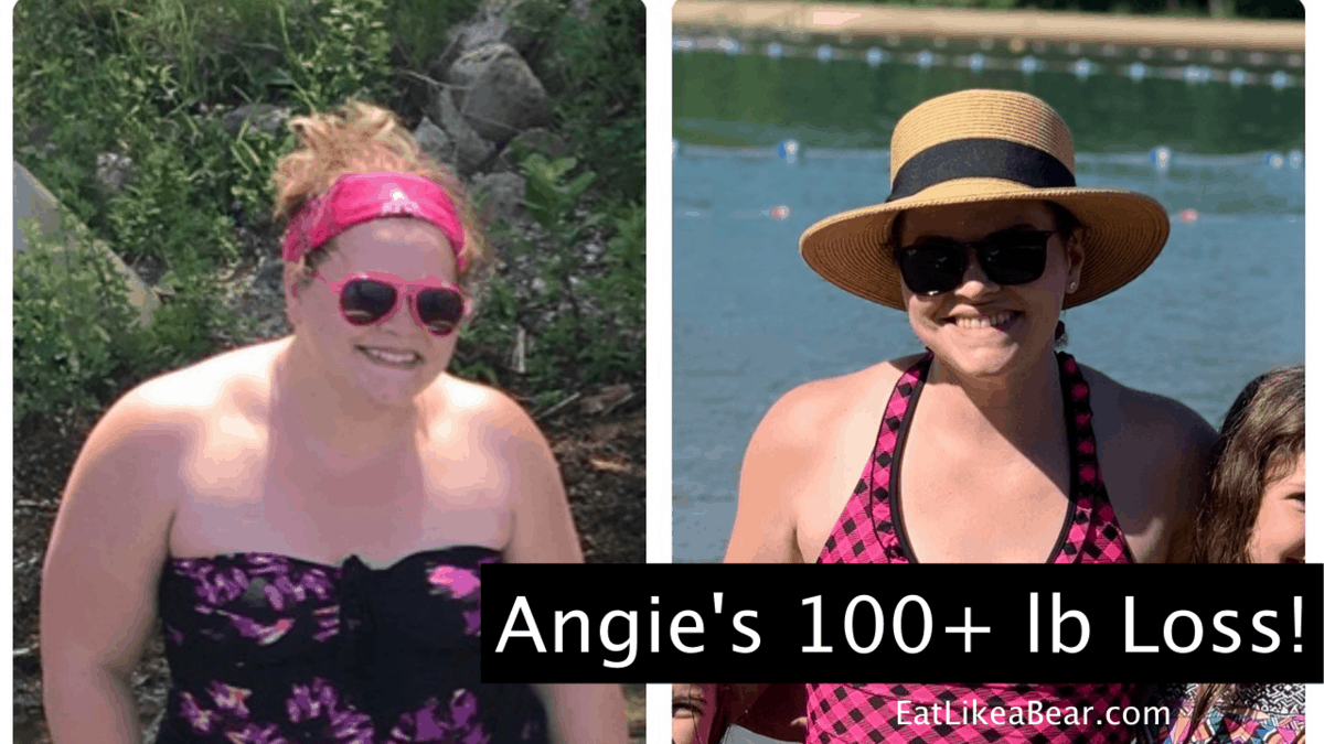 Angie, pictured in her before and after photos, displaying her weight loss success story