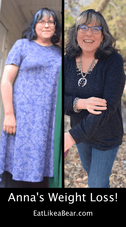 Anna, pictured in her before and after photos, displaying her weight loss success story