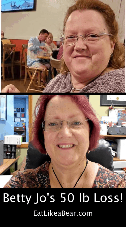 Betty Jo, pictured in her before and after photos, displaying her weight loss success story