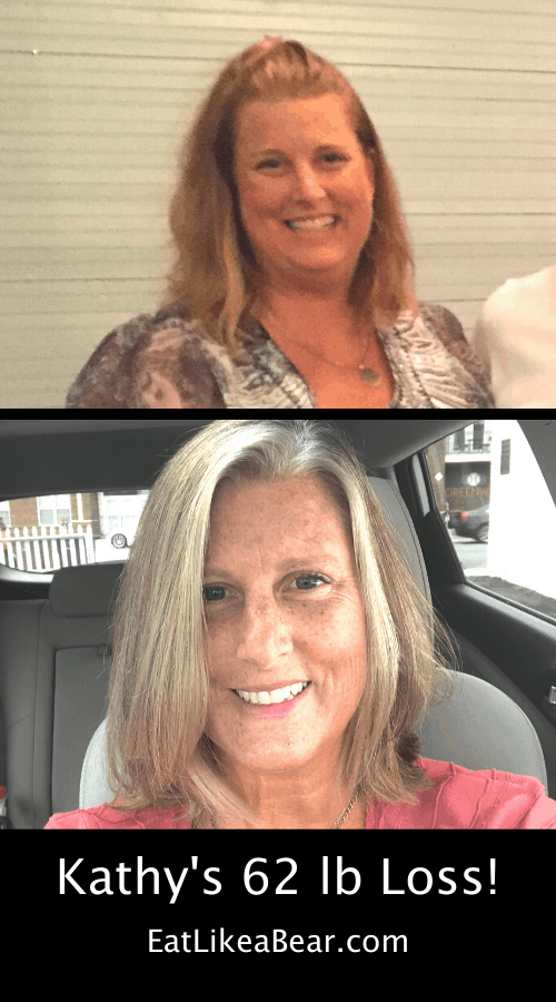 Kathy, pictured in her before and after photos, displaying her weight loss success story
