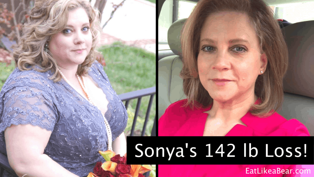 Sonya, pictured in her before and after photos, displaying her weight loss success story