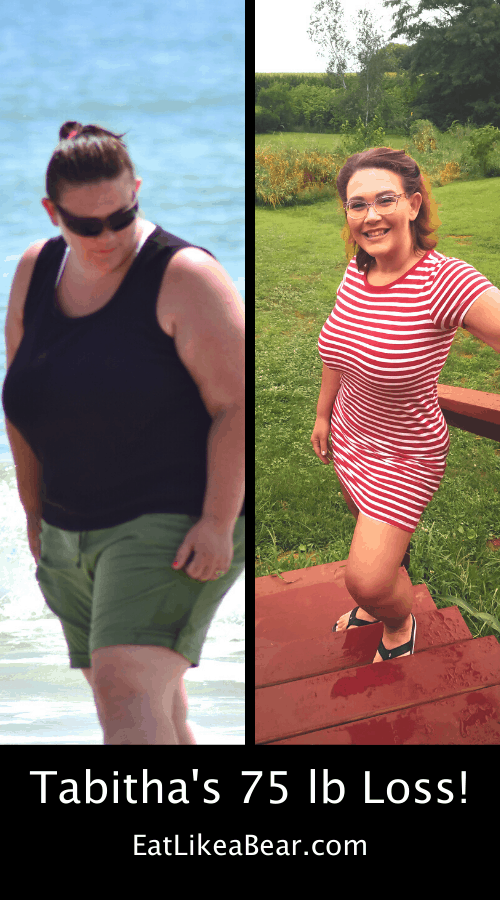 Tabitha, pictured in her before and after photos, displaying her weight loss success story
