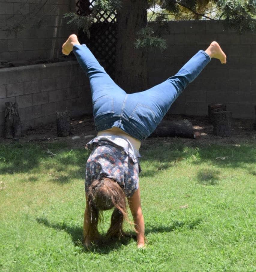 Tisha, doing a handstand