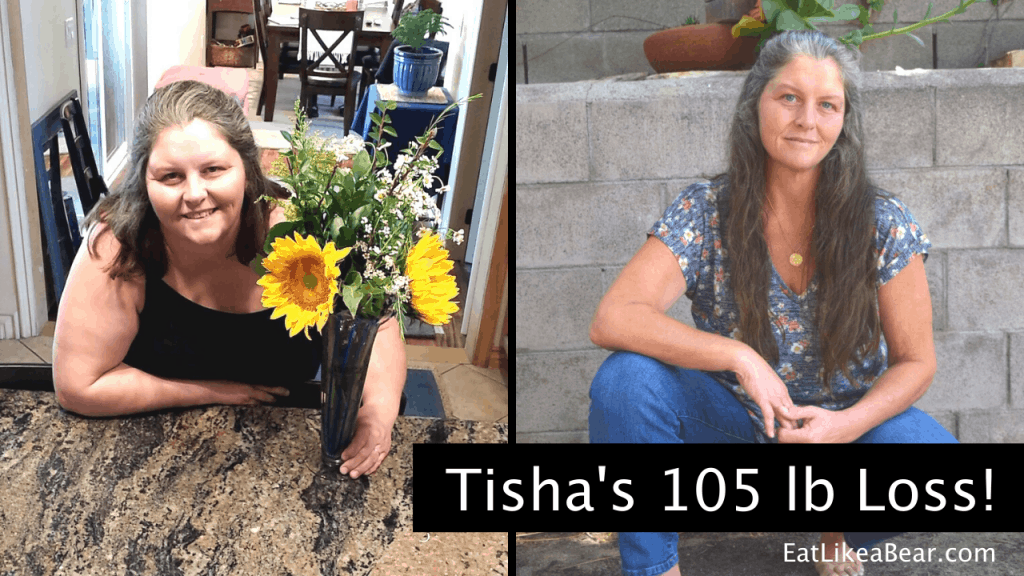 Tisha, pictured in her before and after photos, displaying her weight loss success story