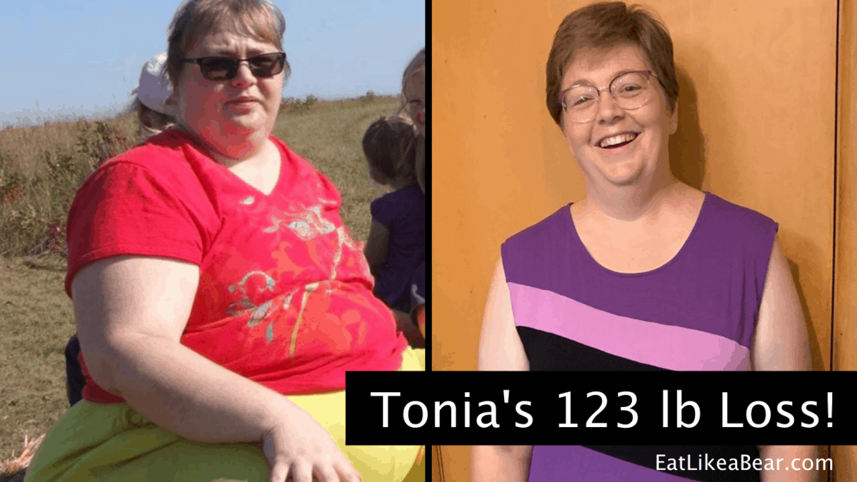 Tonia, pictured in her before and after photos, displaying her weight loss success story
