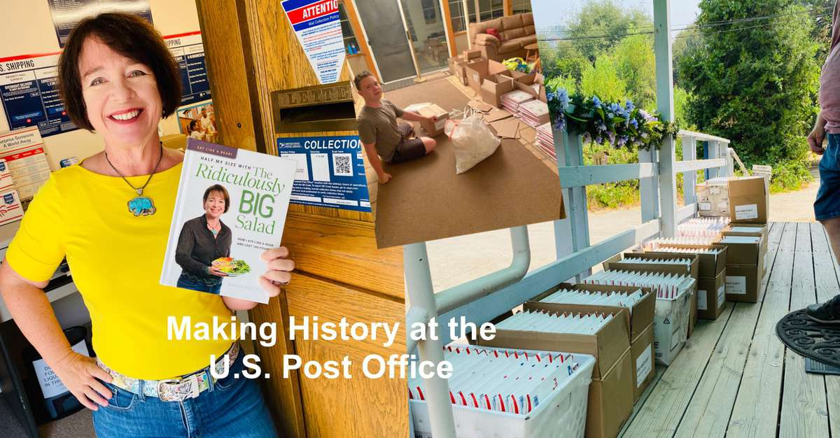 Amanda Rose in the post office holding the book, crates filled with books at the post office and in her house