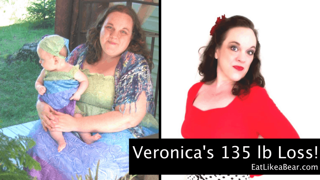 Veronica, pictured in her before and after photos, displaying her weight loss success story