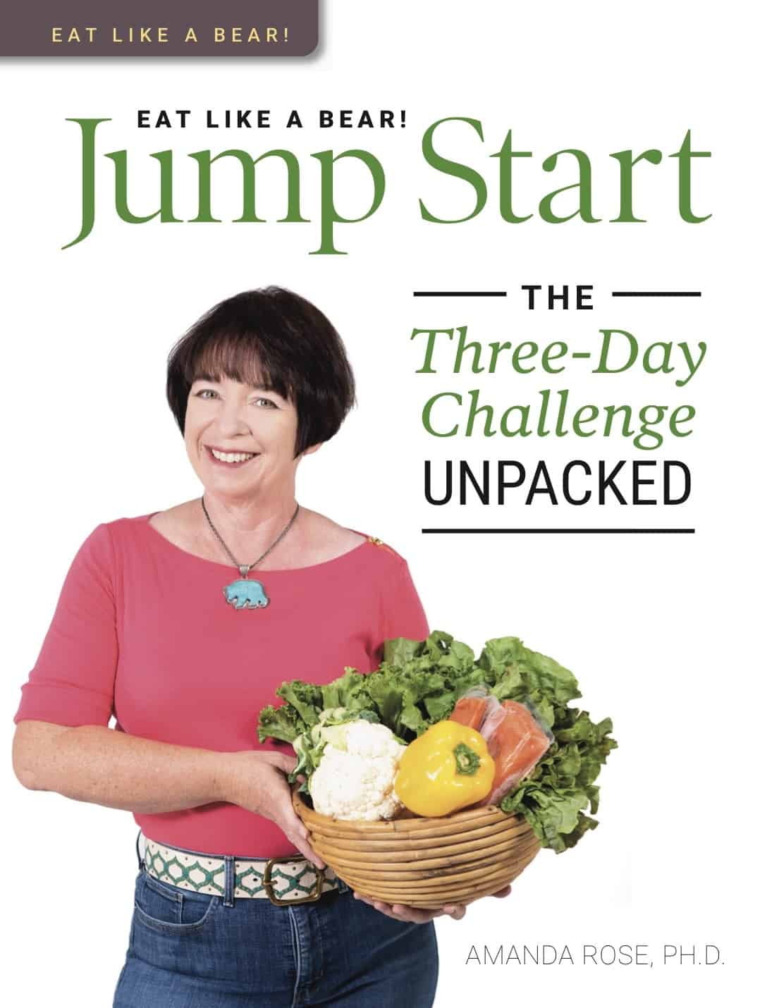 "Cover of the book ""Eat Like a Bear Jumpstart: The Three-Day Challenge Unpacked"" with Amanda Rose holding a harvest basket of food from the shopping list"