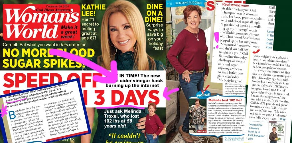 Compositional graphic of the December 28 2020 issue of Woman's World with Kathie Lee on the cover and Melinda and Gail's Eat Like a Bearstory