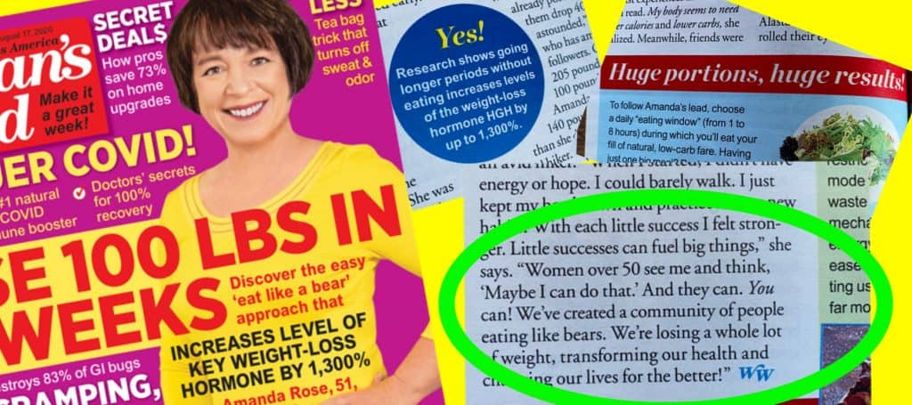 Amanda Rose on the cover of Woman's World with article snippets