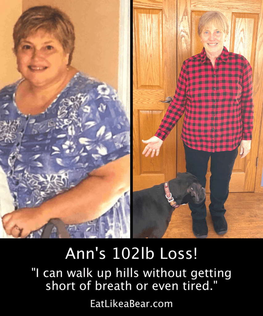 Photo of Ann before and after 102 pound weight loss