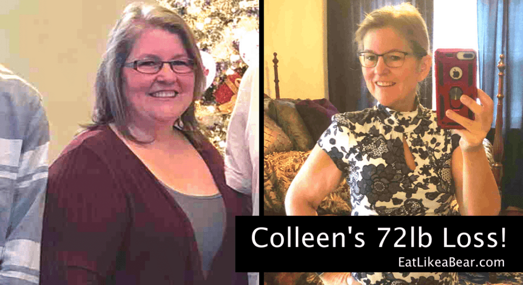 Photo of Colleen before and after 72 pound weight loss