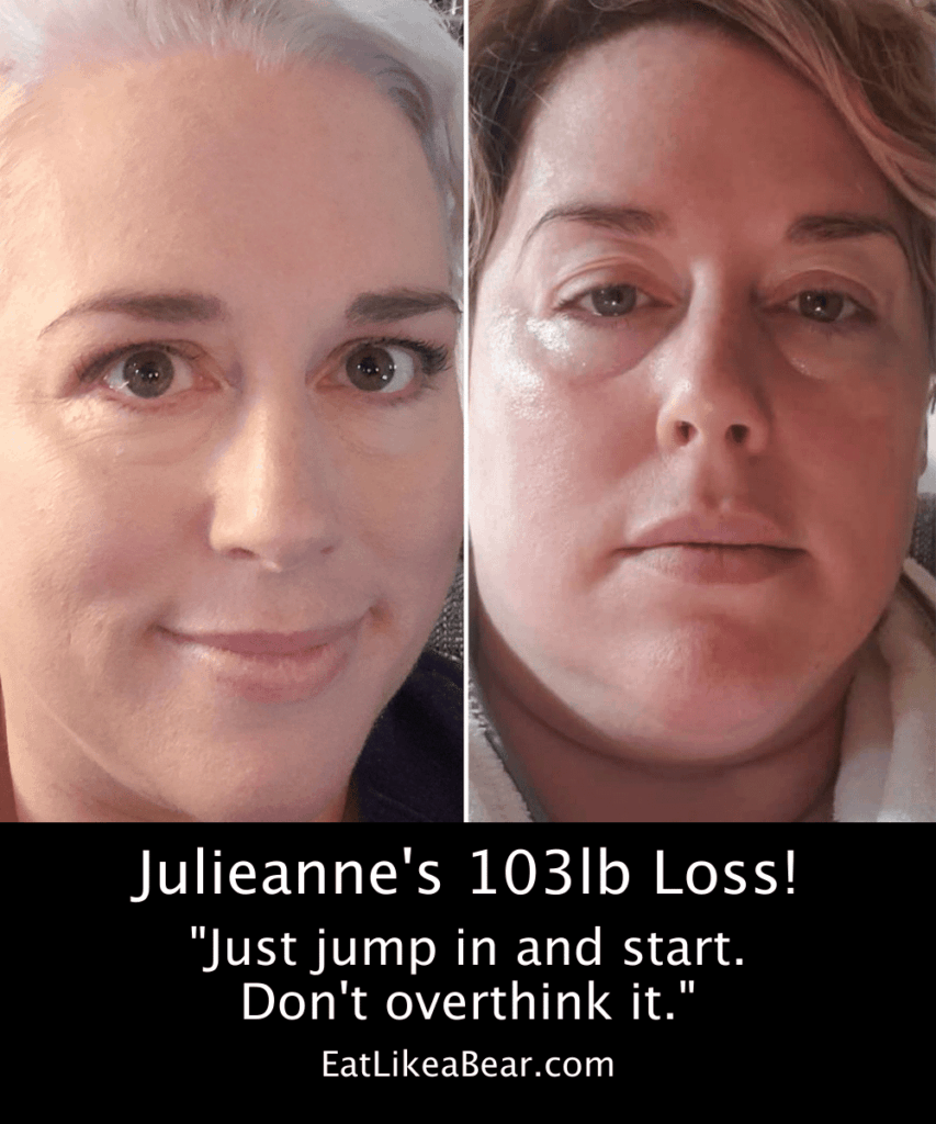 Photo of Julieanne before and after 103 pound weight loss