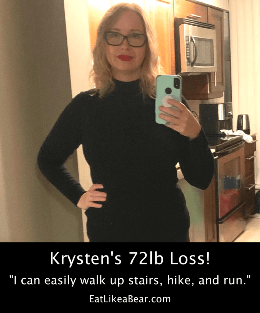 Photo of Krysten after 72 pound weight loss