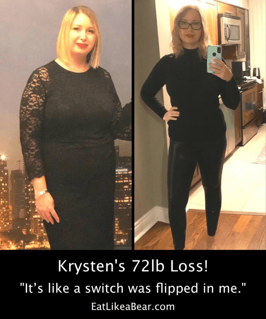 Photo of Krysten before and after 72 pound weight loss