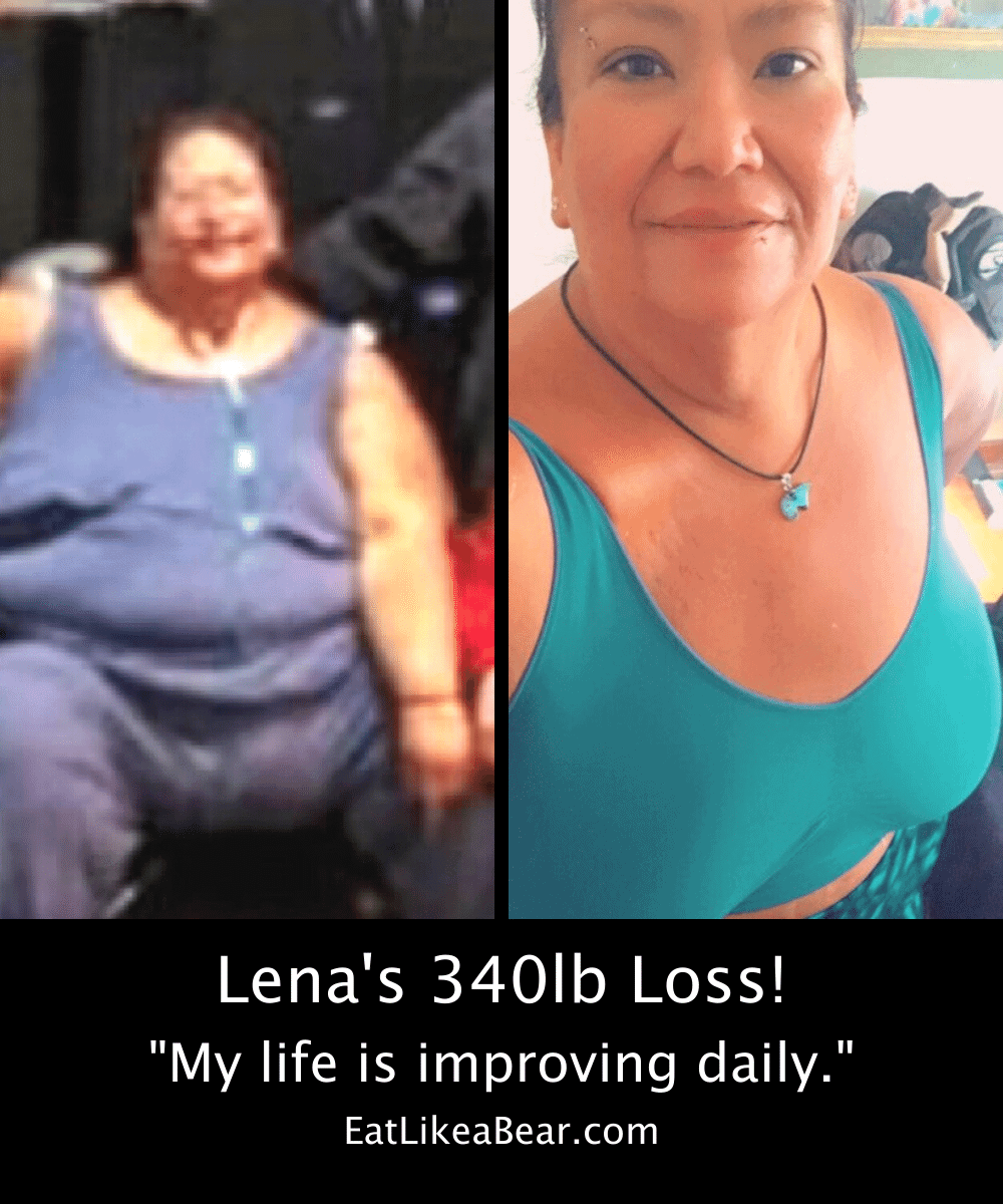 """Before and after photo of Lena with the title """"Lena's 340 lb loss"""""""