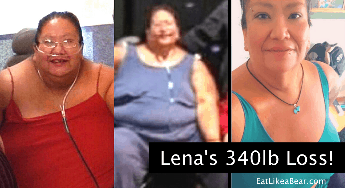 Photo of Lena before and after 340 pound weight loss