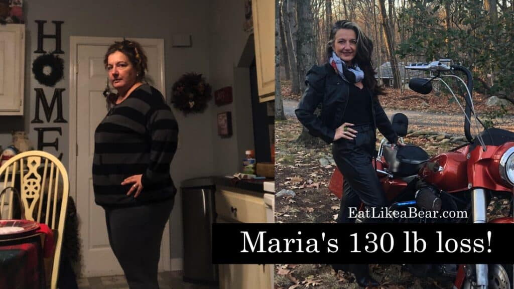 """Before and after photo of Maria with the title """"Maria's 130 lb loss"""""""