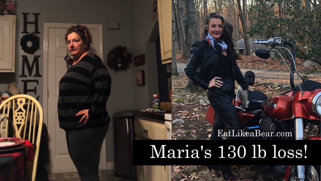 "Before and after photo of Maria with the title ""Maria's 130 lb loss"""