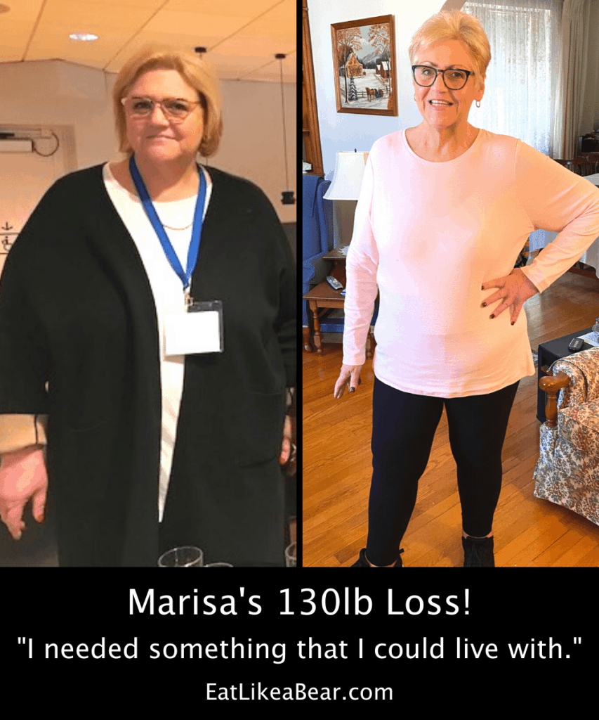 Photo of Marisa before and after 130 pound weight loss
