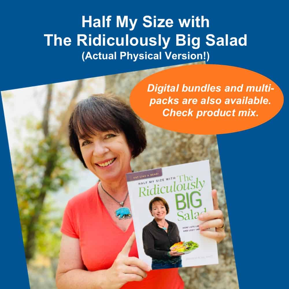 "Amanda Rose holding the book ""Half My Size with The Ridiculously Big Salad"""