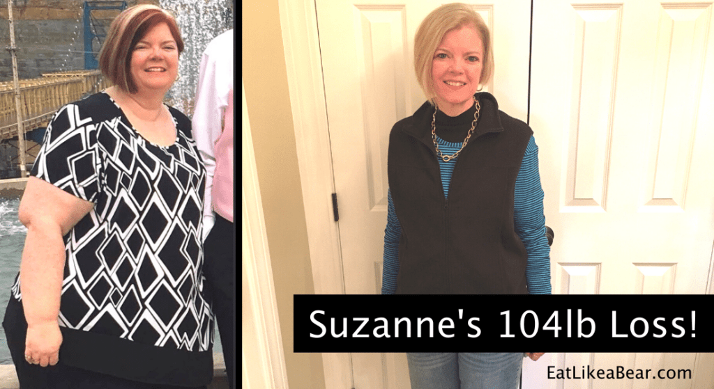 Photo of Suzanne before and after 104 pound weight loss