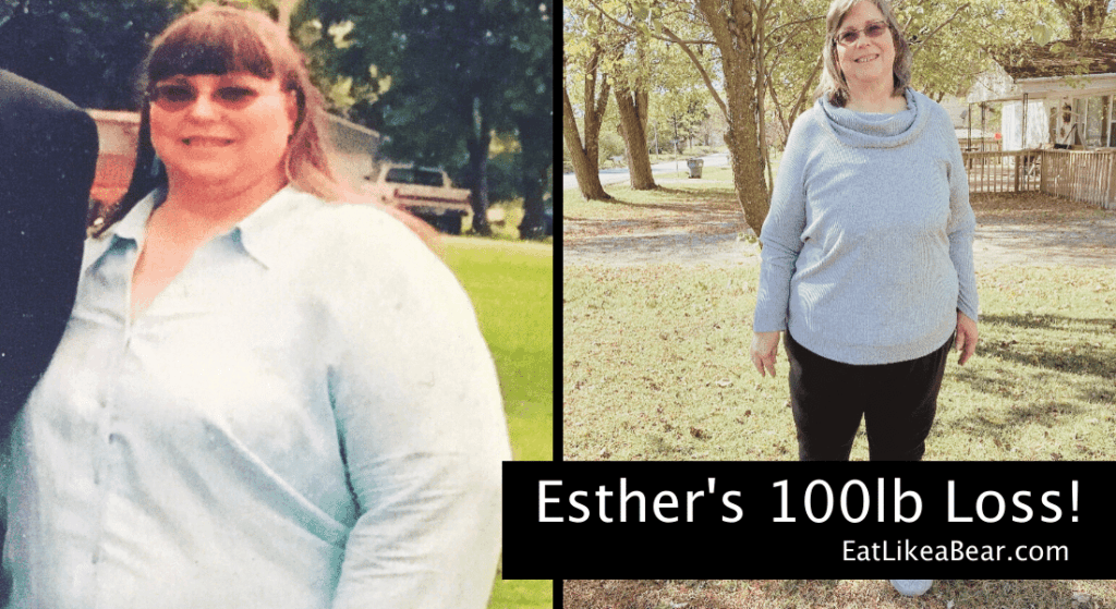 Photo of Esther before and after 100 pound weight loss