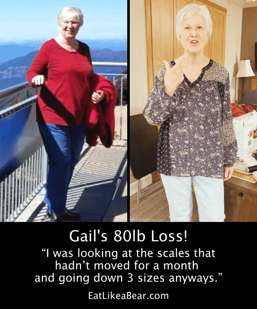 Photo of Gail before and after 80 pound weight loss