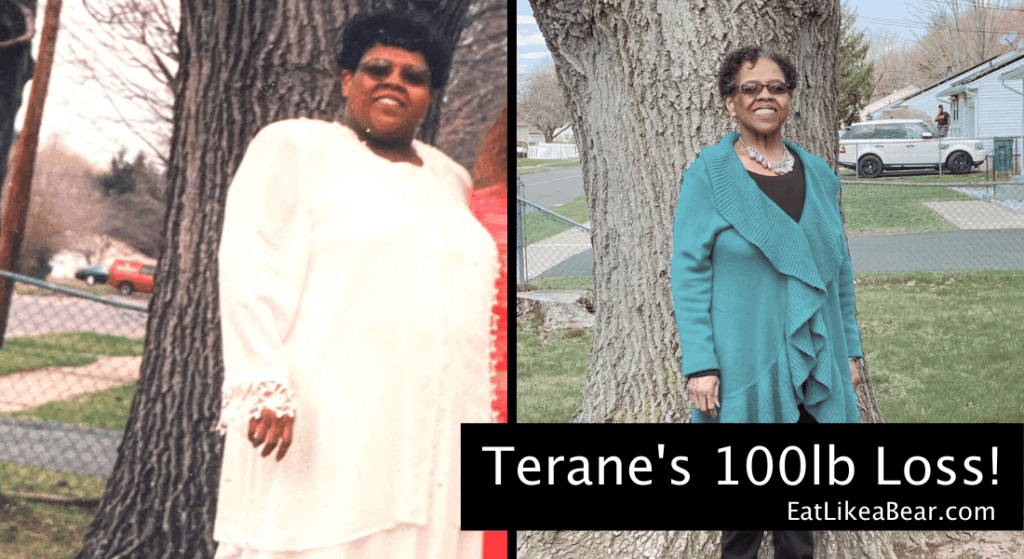 Photo of Terane before and after 100 pound weight loss