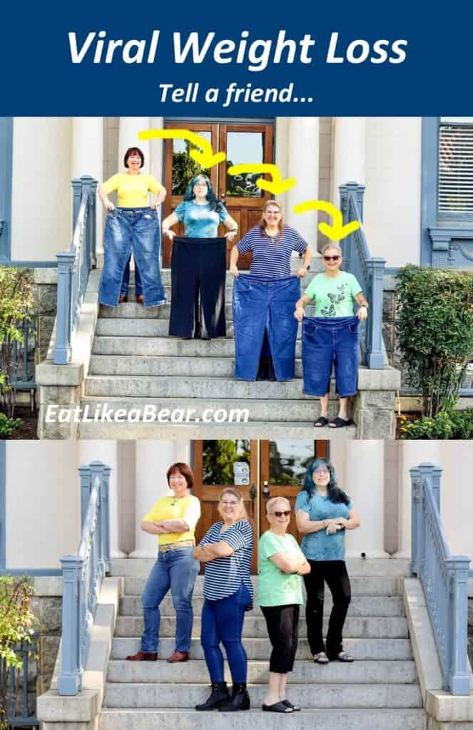 Amanda Rose, Anna, Melinda, and Lorrie showing weight loss progress