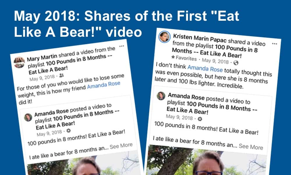 Screen shots from shares of the original Eat Like A Bear! video