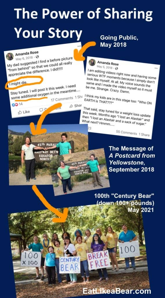 A graphic showing Amanda's social media posts in 2018, the Yellowstone photo, and the 100th 100-pound loss celebration