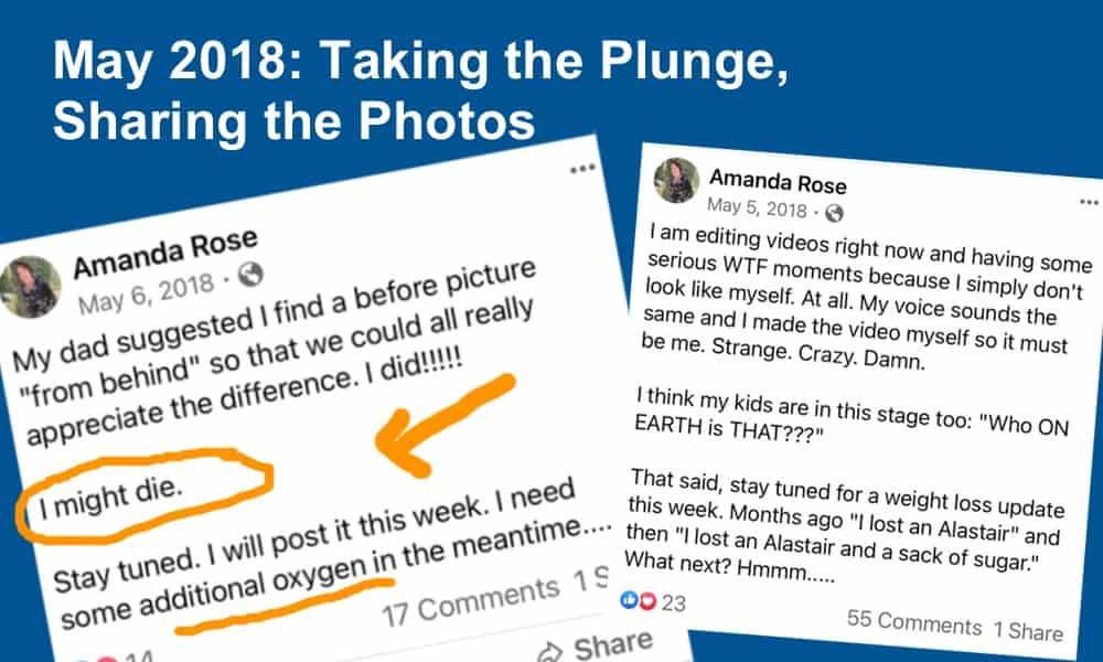 Amanda's Facebook posts from May 2018 showing fear of posting photos